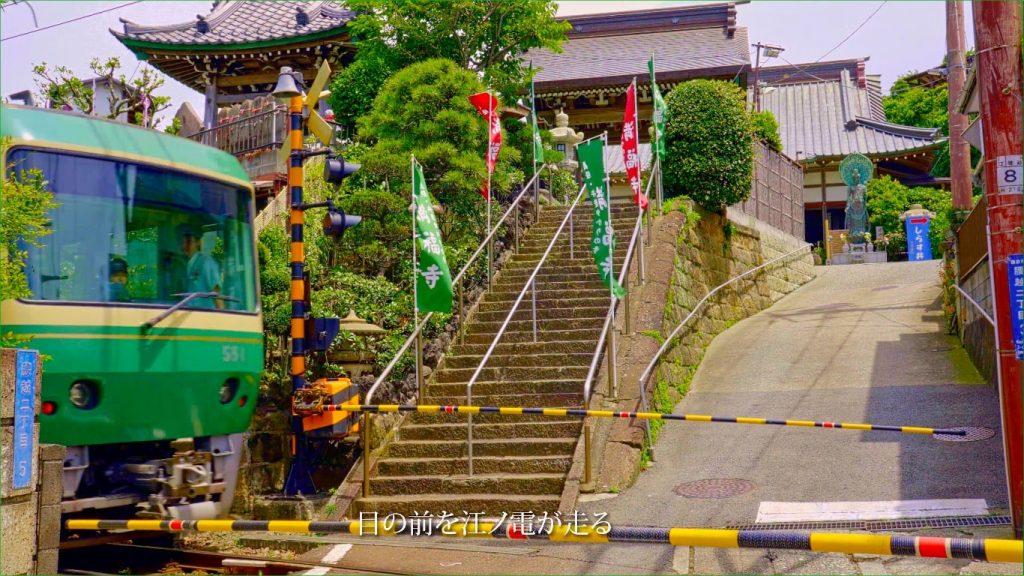 満福寺のすぐ前を江ノ電が走ります